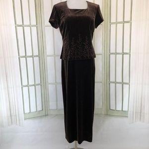 Coldwater Creek Brown Velvet Evening Shift Dress